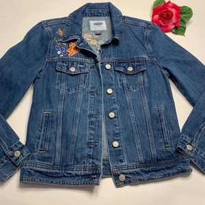 Old Navy Womens Sz Small Embroidered Jean Jacket